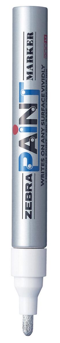 Zebra Маркер перманентный Paint цвет серебряный312 203033Маркер перманентный Paint с износоустойчивым амортизированным наконечником, выполненный из пластика, станет незаменимым аксессуаром в учебе или работе. Маркер содержит жидкие чернила серебряного цвета, которые обеспечивают ровные и четкие линии. Насыщенный цвет сплошной линии, оставляемый маркером, не зависит от цвета окрашиваемой поверхности. Маркер перманентный Paint пишет на любой поверхности.