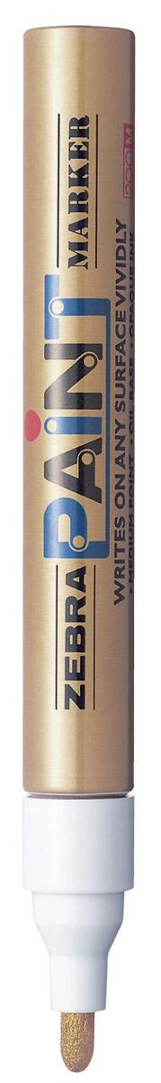 Zebra Маркер перманентный Paint цвет золотой312 203061Маркер перманентный Paint с износоустойчивым амортизированным наконечником, выполненный из пластика, станет незаменимым аксессуаром в учебе или работе. Маркер содержит жидкие чернила золотого цвета, которые обеспечивают ровные и четкие линии. Насыщенный цвет сплошной линии, оставляемый маркером, не зависит от цвета окрашиваемой поверхности. Маркер перманентный Paint пишет на любой поверхности.