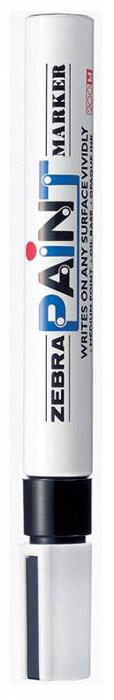 Zebra Маркер перманентный Paint черный312 203010Маркер перманентный Paint с износоустойчивым амортизированным наконечником станет незаменимым аксессуаром в учебе или работе. Маркер содержит жидкие чернила черного цвета, которые обеспечивают ровные и четкие линии. Насыщенный цвет сплошной линии, оставляемый маркером, не зависит от цвета окрашиваемой поверхности. Маркер перманентный Paint пишет на любой поверхности.