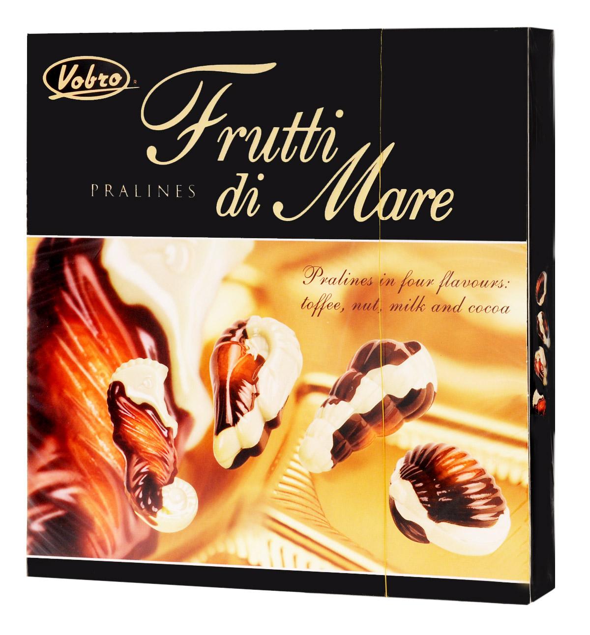 Vobro Frutti di Mare набор шоколадных конфет в виде морских ракушек, 250 г9351Уникальная форма и неповторимый вкус… Такими являются конфеты Vobro Frutti di Mare в виде морепродуктов. Прекрасная композиция белого и черного шоколада, и к тому же начинка 4 вкусов: какао, ореховый, молочный и тоффи. Vobro Frutti di Mare - это значимый подарок, с помощью которого легко показать, как сильно вам дорог человек.