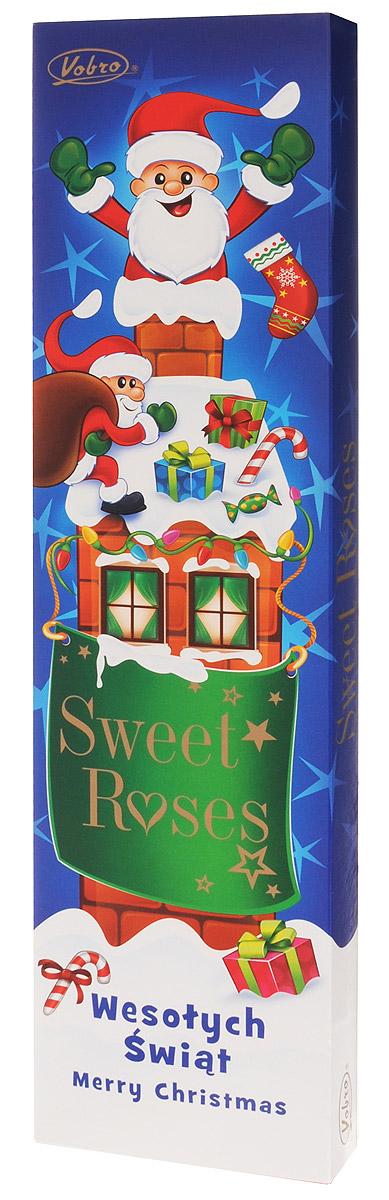 Vobro Sweet Roses Сладкие розы набор шоколадных конфет, 206 г9353Vobro Sweet Roses - это превосходное пралине, верх которого украшен шоколадной розой. Пралине начинено исключительно вкусными кремами со вкусом апельсина, карамели и кокосом. Вместе с дуновением зимы упаковка приобрела новое художественное оформление. Сочетание современности и классики дает потребителю возможность выбора, а интересная форма подачи является отличной идеей сладкого подарка.