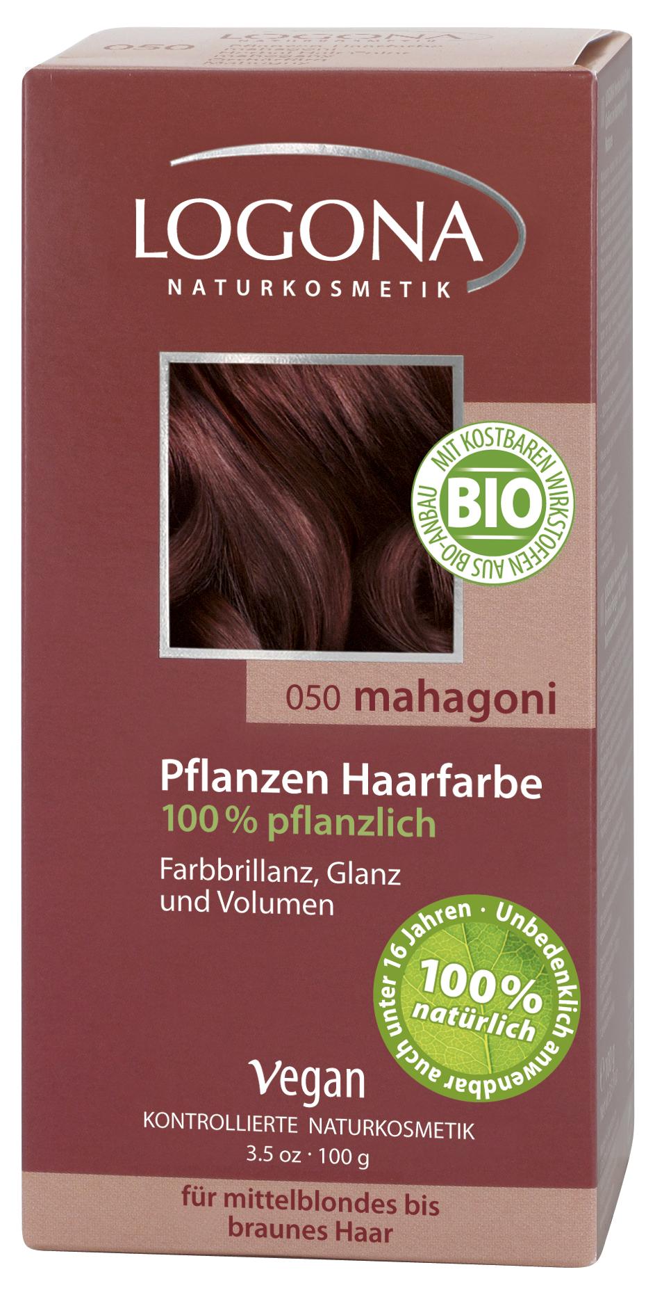 Logona растительная краска для волос 050 «Махагон коричневато-красный» 100 гр01104Оттенок «Махагон коричневато-красный» подходит для русых и каштановых волос. Растительные краски для волос Logona действуют бережно и дают длительный эффект. Состав из хны и других красящих растений, а также веществ растительного происхождения для ухода за волосами естественным образом укрепляют волосы и придают им больше объема и яркости.