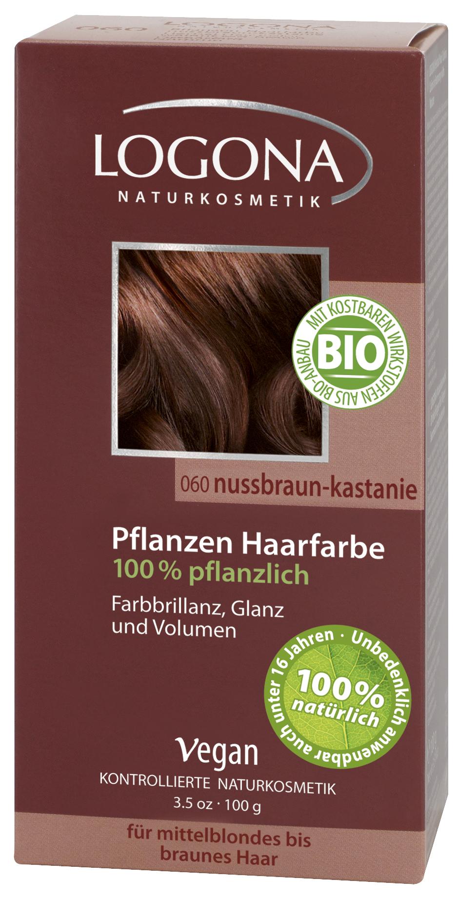 Logona растительная краска для волос 060 «Орех красно-коричневый» 100 гр01105Оттенок «Орех красно-коричневый» подходит для русых и каштановых волос. Растительные краски для волос Logona действуют бережно и дают длительный эффект. Состав из хны и других красящих растений, а также веществ растительного происхождения для ухода за волосами естественным образом укрепляют волосы и придают им больше объема и яркости.