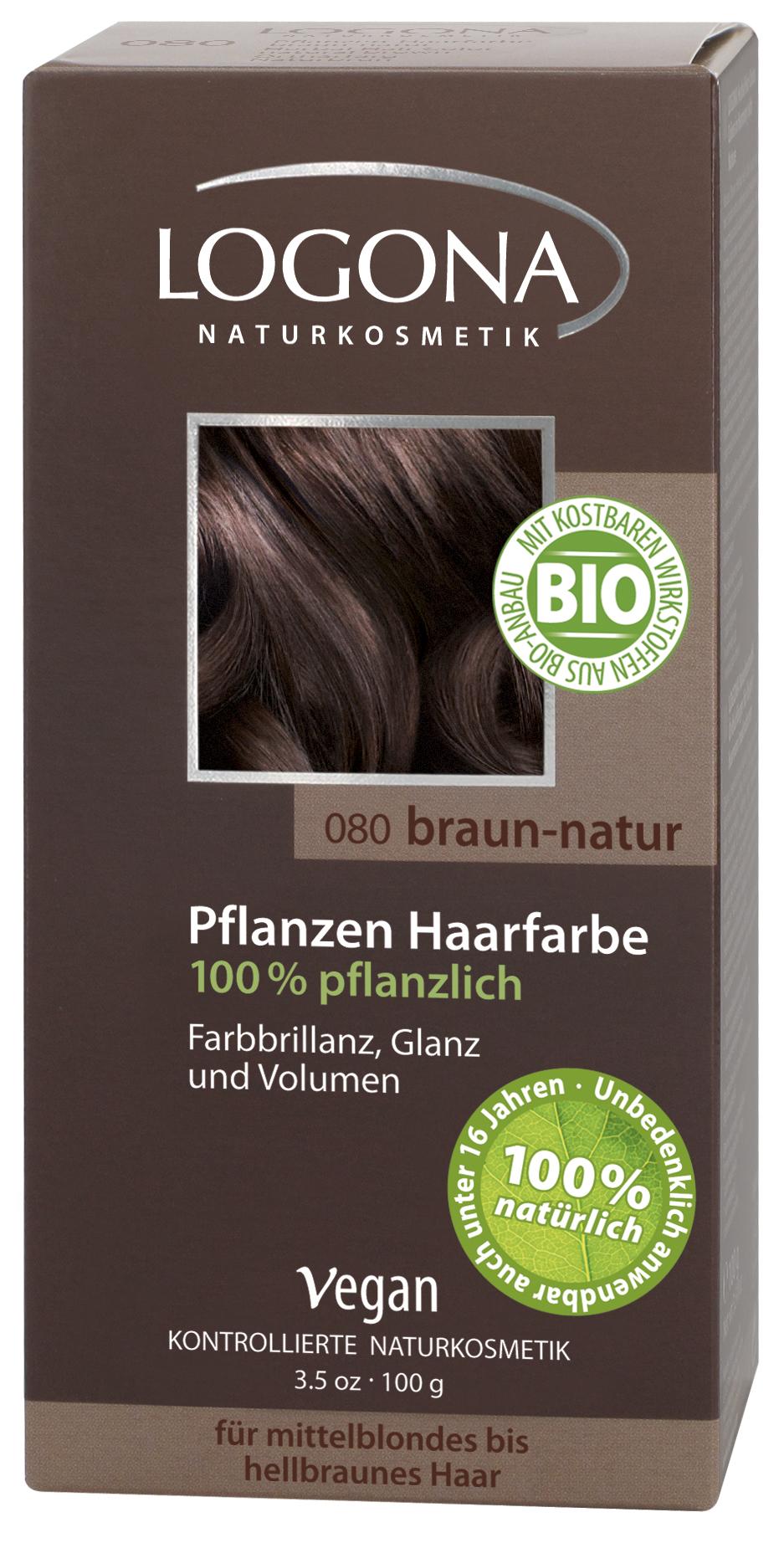 Logona растительная краска для волос 080 «Натурально-коричневый» 100 гр01107Оттенок «Натурально-коричневый» подходит для русых и светло-коричневых волос. Растительные краски для волос Logona действуют бережно и дают длительный эффект. Состав из хны и других красящих растений, а также веществ растительного происхождения для ухода за волосами естественным образом укрепляют волосы и придают им больше объема и яркости.