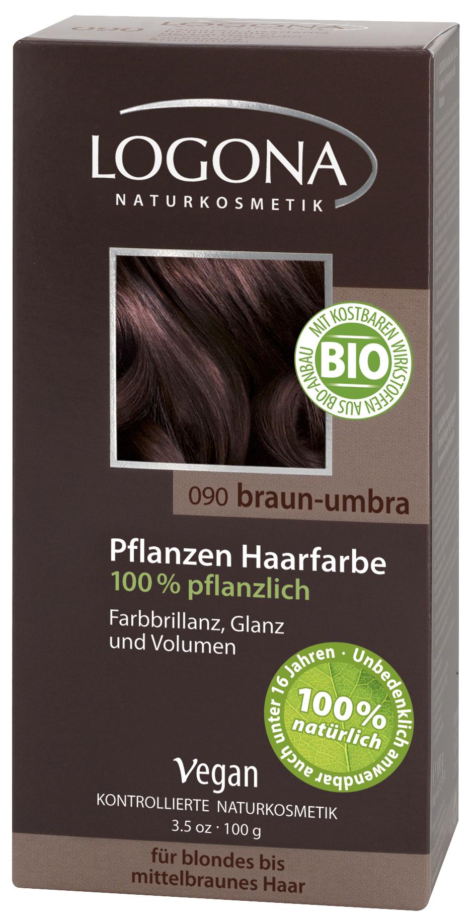 Logona растительная краска для волос 090 «Умбра темно-коричневый» 100 гр01108Оттенок «Умбра темно-коричневый» подходит для волос от светлых для каштановых. Растительные краски для волос Logona действуют бережно и дают длительный эффект. Состав из хны и других красящих растений, а также веществ растительного происхождения для ухода за волосами естественным образом укрепляют волосы и придают им больше объема и яркости.
