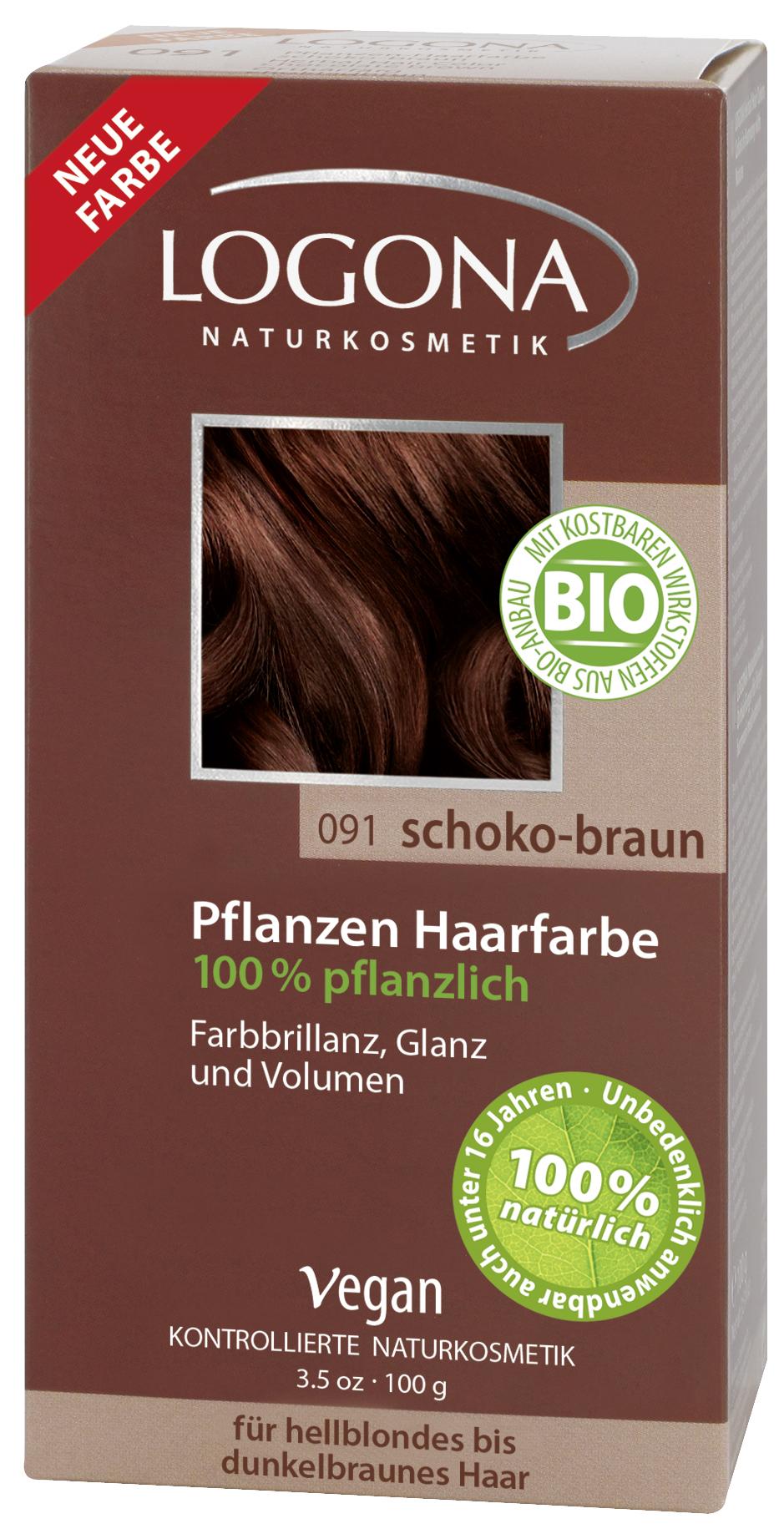 Logona растительная краска для волос 091 «Шоколадно-коричневый»01112Оттенок «Шоколадно-коричневый» подходит для волос от светлых до темно-каштановых. Растительные краски для волос Logona действуют бережно и дают длительный эффект. Состав из хны и других красящих растений, а также веществ растительного происхождения для ухода за волосами естественным образом укрепляют волосы и придают им больше объема и яркости.