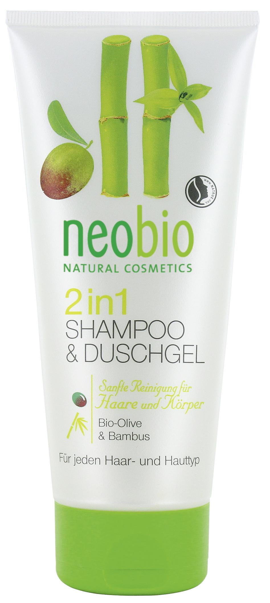 Neobio шампунь-гель 2 в 1 c био-оливой и бамбуком 200 мл60135Для всех типов кожи и волос. Бодрого вам начала дня! Мягкие растительные моющие вещества нежно и бережно очищают кожу и волосы. Сбалансированный состав, обогащенный био-экстрактом оливы, био-алоэ вера и вытяжкой бамбука, увлажняет и дарит коже и волосам приятный аромат натуральных духов. Идеален для ежедневного применения.