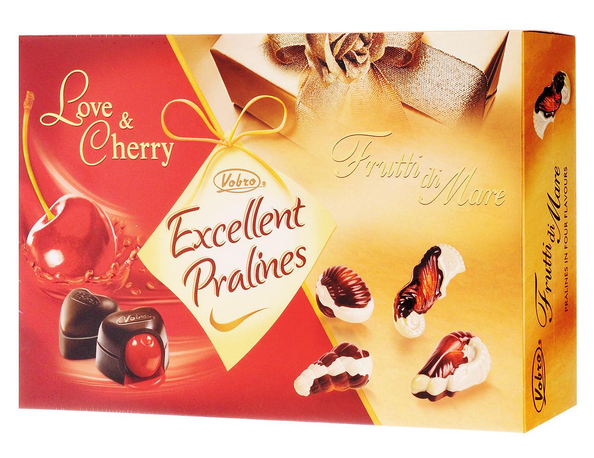 Vobro Exellent Pralines Отличное пралине набор шоколадных конфет, 330 г10058Двойная радость от чувственных шоколадных конфет в элегантной упаковке. Коробка конфет Excellent Pralines оправдает ожидания всех гурманов шоколадных конфет, которые не любят себе отказывать в любимых вкусах. Excellent Pralines - это сочетание двух вкусов: чувственных конфет с вишней в ликере Love&Cherry и тонких пралине Frutti di Mare, созданных в композиции белого и черного шоколада с деликатным кремовым наполнением. Содержимое коробки - это незабываемые вкусовые ощущения.