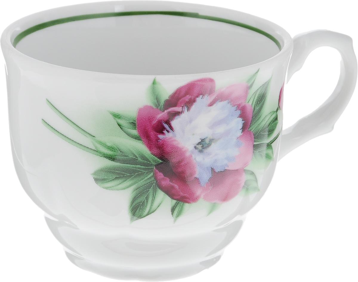 Чашка чайная Тюльпан. Пион, 250 мл2С0171Чашка выполнена из высококачественного фарфора в форме тюльпана и оформлена изображением цветков пиона. Изделие покрыто превосходной сверкающей глазурью. Завитки на ручке чашки подчеркивают романтичность изделия. Нежнейший дизайн и белоснежность изделия дарят ощущение легкости и безмятежности. Изысканная чашка прекрасно оформит стол к чаепитию и станет его неизменным атрибутом. Диаметр чашки (по верхнему краю): 8,5 см. Высота чашки: 7 см. Объем: 250 мл.