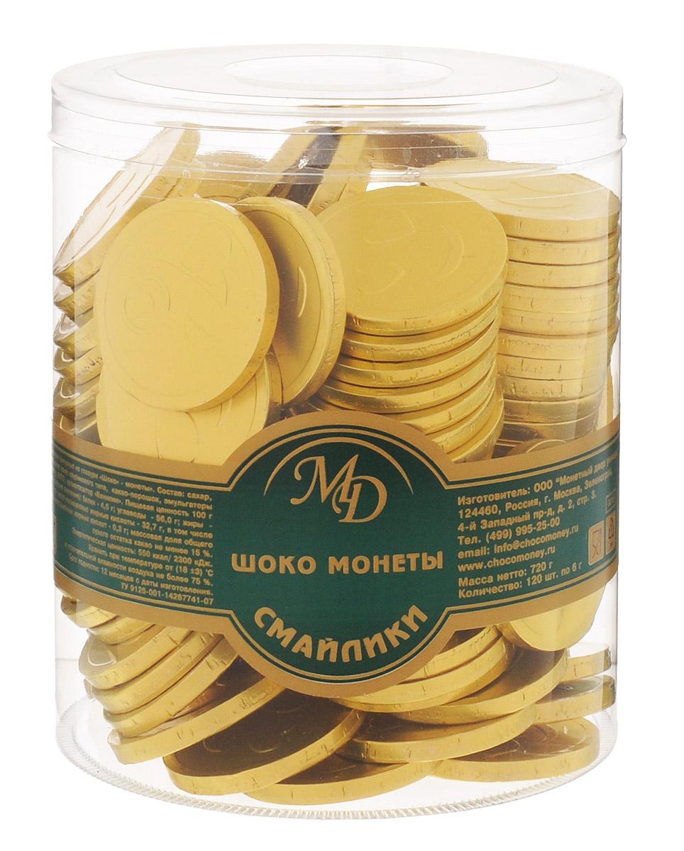 Монетный двор Шоколадные монеты Смайлик, 120 шт по 6 г (пластиковая банка)10381Шоколад не зря ценился нашими предками на вес золота - в этом продукте кроются удивительные свойства, которые способствуют поднятию настроения и дарят улыбку, не говоря уже об удивительном, ярком вкусе, которым обладает настоящий шоколад отборных сортов. Все эти качества, а еще необычный внешний вид сошлись в одном из самых популярных продуктов - шоколадных монетах. Поделиться улыбкой теперь стало еще проще - просто подарите ближнему шоколадную монету Смайлик!