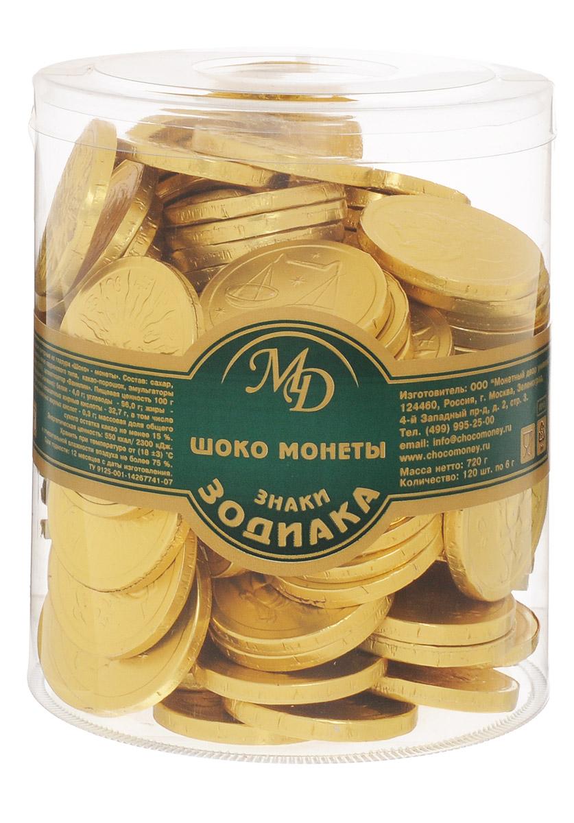 Монетный двор Шоколадные монеты Знаки Зодиака, 120 шт по 6 г (пластиковая банка)3404Шоколад не зря ценился нашими предками на вес золота - в этом продукте кроются удивительные свойства, которые способствуют поднятию настроения и дарят улыбку, не говоря уже об удивительном, ярком вкусе, которым обладает настоящий шоколад отборных сортов. Все эти качества, а еще необычный внешний вид сошлись в одном из самых популярных продуктов - шоколадных монетах. Шоколадные монеты Знаки зодиака - изящные, красивые и, конечно, очень вкусные, выполненные из нежнейшей шоколадной глазури.