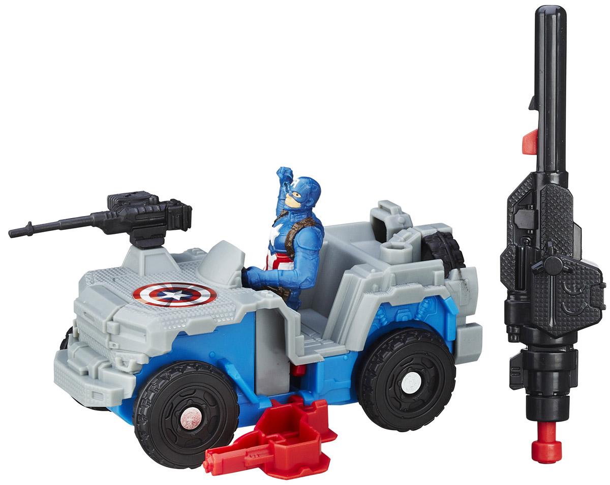 Avengers Боевая машина Captain America с фигуркойB5769EU4_B6770Боевая машина Мстителей Marvel Captain America порадует любого поклонника знаменитой вселенной Marvel. В комплекте с машиной фигурка Капитана Америки, пулемет и пусковое устройство. Для придания машинке ускорения необходимо присоединить пусковое устройство к машинке и нажать на кнопку - машинка быстро поедет вперед. Игрушки Marvel понравятся как детям, так и взрослым коллекционерам, они станут отличным сувениром или займут достойное место в коллекции любого поклонника комиксов Marvel.