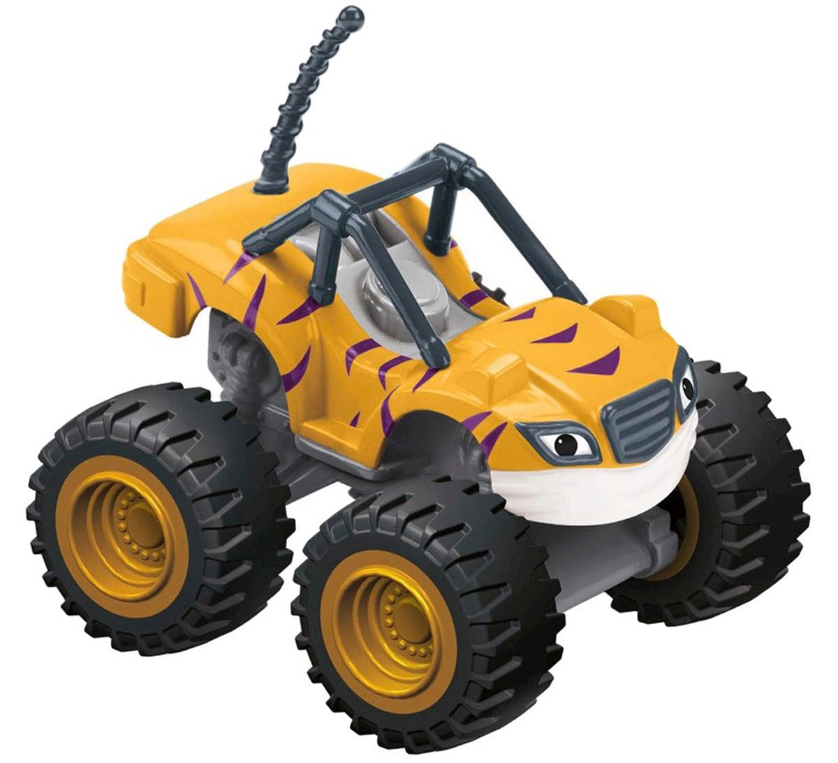 Blaze Машинка ПолосатикCGH56_GH10, CGF20Машинка Blaze Полосатик выполнена из металла и пластика в виде героя популярного мультсериала Вспыш и чудо-машинки. У этого мультяшного монстр-трака широкие колеса и яркий полосатый кузов. Колеса машинки обладают свободным ходом, кузов выполнен из литого металла. Машинка свободно катается по любым поверхностям и легко повторяет трюки из мультфильма. Вспыш и чудо-машинки - история про Эй-Джея, восьмилетнего любителя техники, который водит пикап по имени Блейз (Вспыш), побеждающий на всех гонках в Аксель-Сити. Они вместе отправляются в приключения, требующие знания физики и математики. Их ждет множество трудностей от главного соперника Блейза (Вспыша) - Крашера (Крушила), грузовика, который готов пойти на всё, чтобы быть на финише первым.