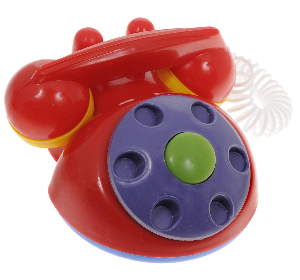 Аэлита Детский телефон цвет красный2С454Яркий детский телефон Аэлита не оставит вашего малыша равнодушным и не позволит ему скучать! Игрушка представляет собой старинный дисковой аппарат с пружинным проводом, идущим к трубке. Небольшая трубка очень удобна для детских рук по размерам, диск крутится, пружинный провод легко растягивается и собирается обратно. Яркие цвета игрушки направлены на развитие мыслительной деятельности, цветовосприятия, тактильных ощущений и мелкой моторики рук ребенка, а элемент набора номера на телефоне способствует развитию слуха. Товар сертифицирован.