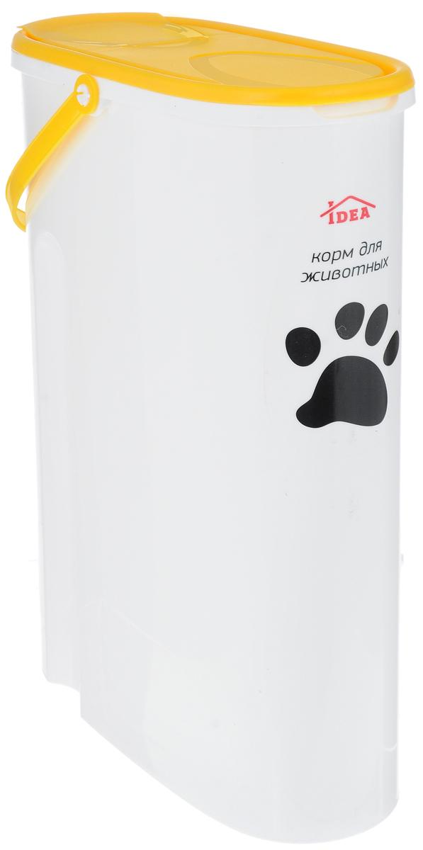 Контейнер Idea для хранения корма, цвет: желтый, 5 лМ 1242_желтыйКонтейнер Idea, изготовленный из высококачественного пластика, предназначен для хранения корма для животных. Крышку можно полностью снять или просто приподнять ее небольшую часть. Контейнер оснащен ручкой, благодаря которой можно без проблем переносить с места на место. В таком контейнере корм останется всегда свежим.
