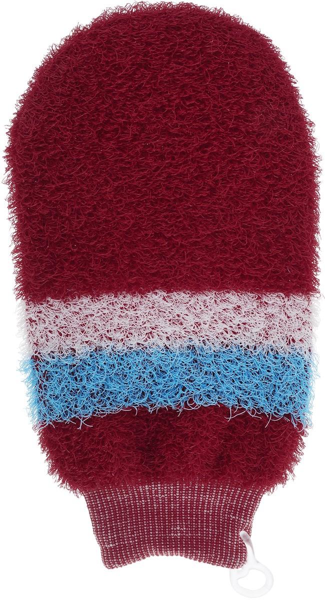 Мочалка-рукавица массажная Riffi, цвет: красный, белый, голубой800_красный, белый, голубойМочалка-рукавица Riffi идеально подходит для интенсивного массажа и пилинга. Цветные полоски из более жесткого материала хорошо освобождают кожу от ороговелостей и отмерших клеток, делая ее гладкой и упругой. Интенсивный слегка пощипывающий массаж тела с применением мочалки Riffi стимулирует кровообращение, активирует кровоснабжение и улучшает общее самочувствие, борется с болями и спазмами в мышцах. В результате у вас мягкая, гладкая и чистая кожа, мочалка помогает бороться с целлюлитом, предотвращает появление огрубевшей кожи и вросших волос. Riffi приносит приятное расслабление всему организму. Варежка необычайно гигиенична и долговечна. . В комплекте 1 мочалка-рукавица.