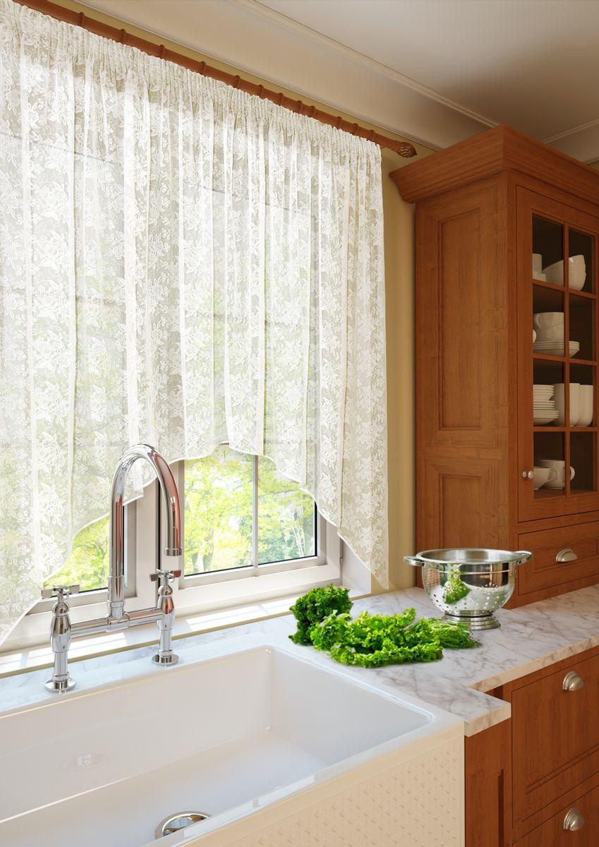 Тюль для кухни KauffOrt Монро, высота 175 см. 31112332703111233270Комплектация: 1 Тюль с фестоном. Материал: Кружево. Состав: 100% Полиэстер. Цвет: шампань. Применение: кухня, дача.