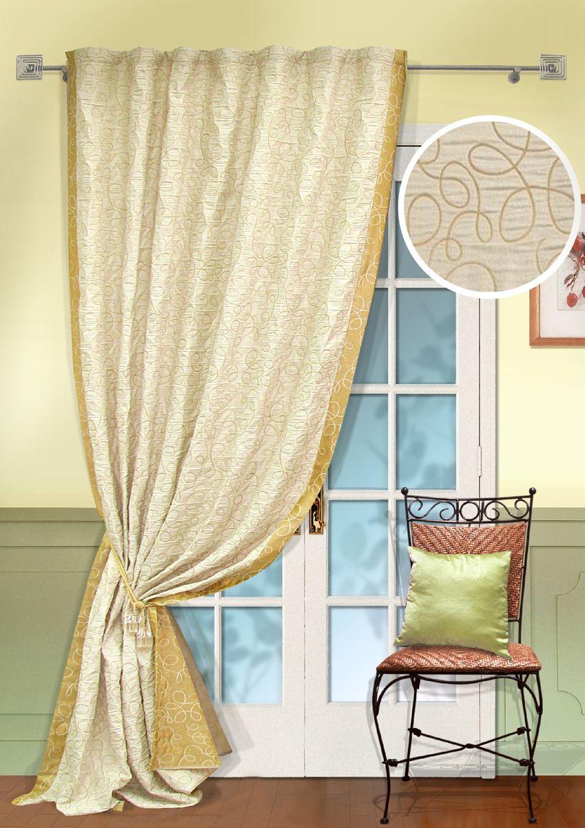 Портьера KauffOrt Минор, на ленте, высота 270 см. 31112525203111252520Комплектация: 1 Портьера, 1 подхват, термоклеевая лента, для регулирования высоты шторы. Материал: Жаккард двухслойный. Состав: 100% Полиэстер. Цвет: Основно: шампань. Применение: гостиная, спальня.