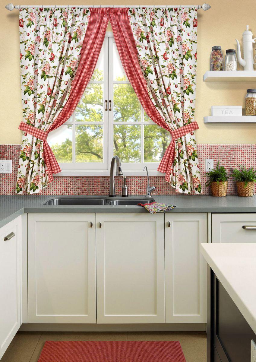 Комплект штор для кухни KauffOrt Лилу, на ленте, высота 175 см. 31200151753120015175Комплектация: 2 портьеры, 2 подхвата. Материал: полотно, принт. Состав: 50% хлопок, 50% полиэстер. Цвет: Мультиколлор. Применение: кухня, дача.