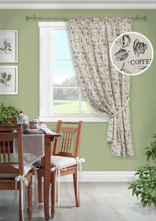 Портьера для кухни KauffOrt Кафе, на ленте, высота 175 см. 3911157962039111579620Комплектация: 1 Штора, 1 подхват. Материал: Полотно, принт. Состав: 65% Хлопок, 35% Полиэстер. Цвет: мультиколлор . Применение: Кухня, дача.