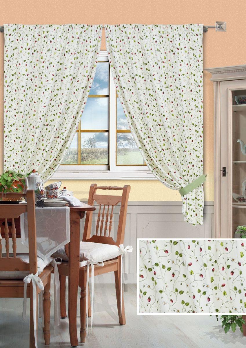 Комплект штор для кухни KauffOrt Флора, на ленте, высота 175 см. 3912309868039123098680Комплект Kauffort Флора состоит из двух штор и двух подхватов. Шторы изготовлены из полотна с рисунком. Для придания изящного внешнего вида шторы присбориваются с помощью подхватов. Шторы оснащены шторной лентой для красивой сборки.