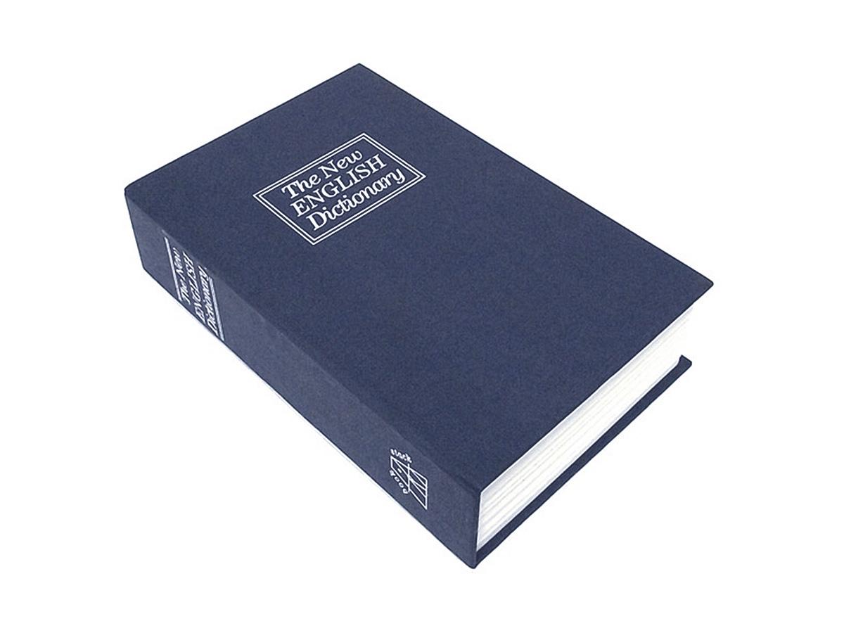 Книга-сейф Эврика Английский словарь, цвет: синий, 24 х 15,5 х 5,5 см94793Этот сейф-шкатулка - точная имитация книги. Будучи поставленным на книжную полку, он ловко затеряется среди настоящей литературы, сохранив в тайне ваши секреты или сбережения. В оформлении применено тиснение серебристой фольгой. Внутри пластикового корпуса находится металлическое хранилище с надёжным замком, к которому прилагается комплект из двух ключей. Размеры: 24 х 15,5 х 5,5 см.