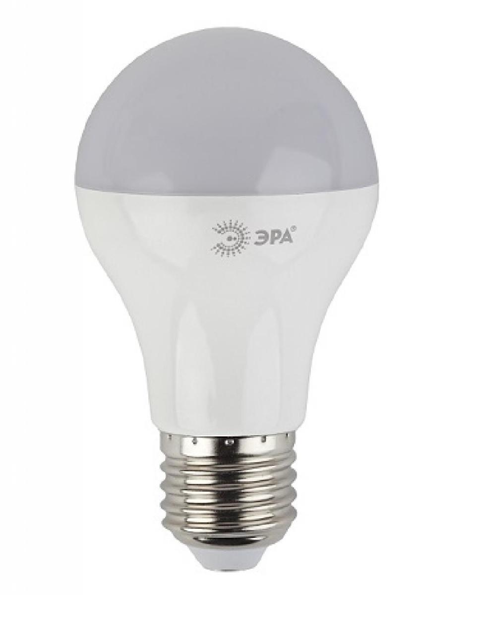 Лампа светодиодная ЭРА, цоколь E27, 170-265V, 13W, 2700К5055945518467Светодиодная лампа ЭРА является самым перспективным источником света. Основным преимуществом данного источника света является длительный срок службы и очень низкое энергопотребление, так, например, по сравнению с обычной лампой накаливания светодиодная лампа служит в среднем в 50 раз дольше и потребляет в 10-15 раз меньше электроэнергии. При этом светодиодная лампа практически не подвержена механическому воздействию из-за прочной конструкции и позволяет получить любой цвет светового потока, что, несомненно, расширяет возможности применения и позволяет создавать новые решения в области освещения. Особенности серии A60: Лампочки лучшие в соотношении цена-качество Представлена широкая линейка, наличие всех типов цоколей ламп бытового сегмента Световая отдача - 90-100 лм/Вт Гарантия - 2 года Совместимы с выключателями с подсветкой.