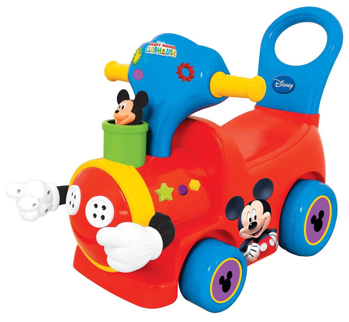 Kiddieland Каталка-пушкар Поезд с Микки МаусомKID 043901Каталка-пушкар Kiddieland Поезд с Микки Маусом станет для крохи любимым времяпровождением на свежем воздухе. Ведь стоит только немного оттолкнуться ногами, как этот яркий паровозик стремится вдаль и даже светится разноцветными огоньками, придающими ему особую реалистичность. А чтобы развлечь себя музыкой, малыш может нажать на кнопочки возле руля и наслаждаться приятным звучанием мелодий в пути. Особенности: Каталка предназначена для использования не только на улице, но и дома. Корпус каталки украшен декоративными наклейками с изображением героя мультика, а на передней панели расположен руль с кнопочками, рычаг скоростей и ключ зажигания. Декоративные огоньки на корпусе изделия во время движения светятся. Кнопочки и гудок на руле дополнены звуковым модулем, поэтому дети могут услышать звуки мотора и мелодии. Спинка на корпусе изделия одновременно может служить ручкой для его толкания вперед, а также поможет спине...