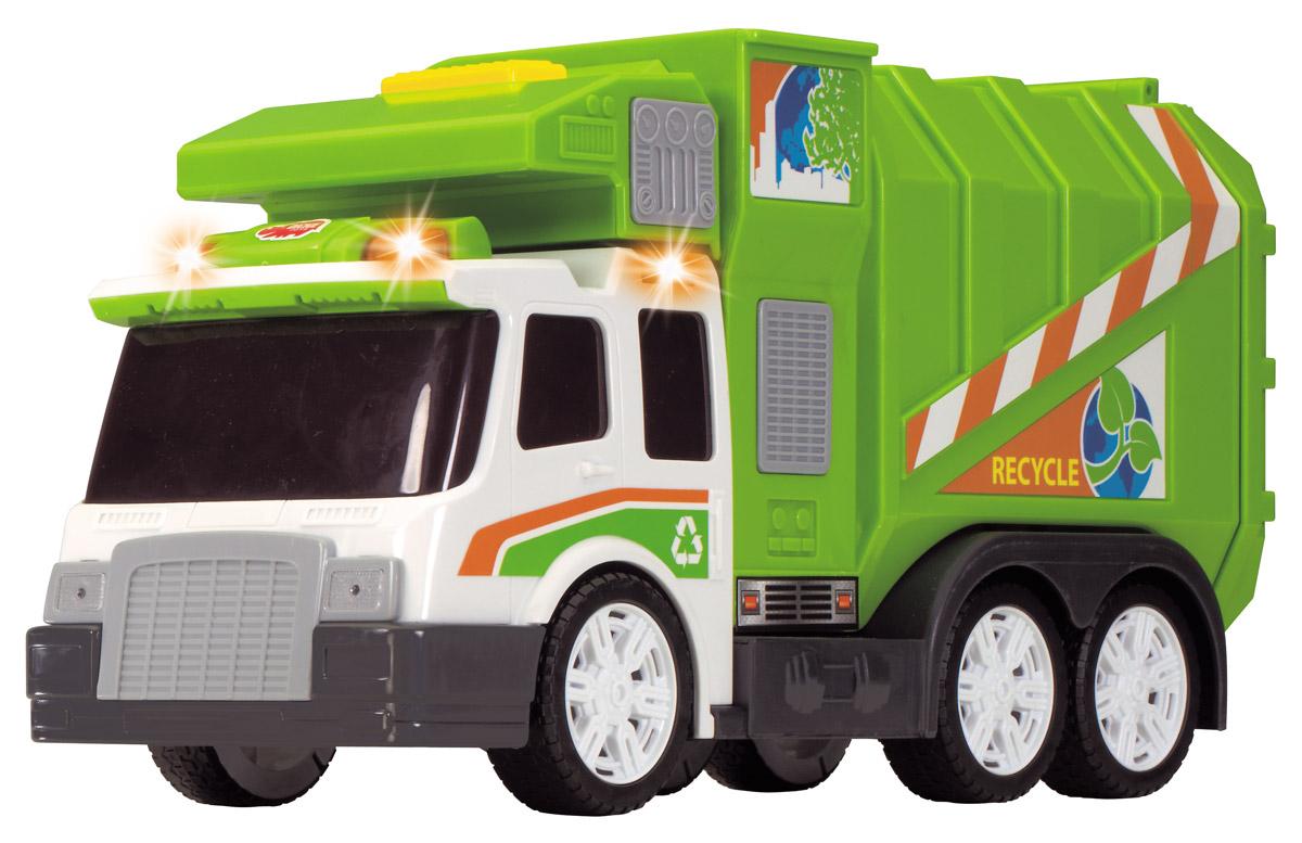Dickie Toys Мусоровоз цвет зеленый3308357Мусоровоз Dickie Toys привлечет внимание вашего ребенка и не позволит ему скучать. Игрушка выполнена из прочного пластика в виде хорошо детализированного мусоровоза. Кузов машины поднимается, задняя дверца кузова открывается. Мусоровоз оснащен подъемным механизмом для опрокидывания мусорного бака (в комплекте). Мусорный бак поднимается и опускается при нажатии на рычаг. Для придания большей реалистичности машина оснащена световыми и звуковыми эффектами, которые включаются кнопкой на правой стороне кабины.Функциональный мусоровоз имеет в комплекте урну, которая крепится к машине. Ваш ребенок сможет часами играть с мусоровозом, придумывая разные истории. Порадуйте его таким замечательным подарком! Для работы игрушки необходимы 2 батарейки типа АА напряжением 1,5V (товар комплектуется демонстрационными).