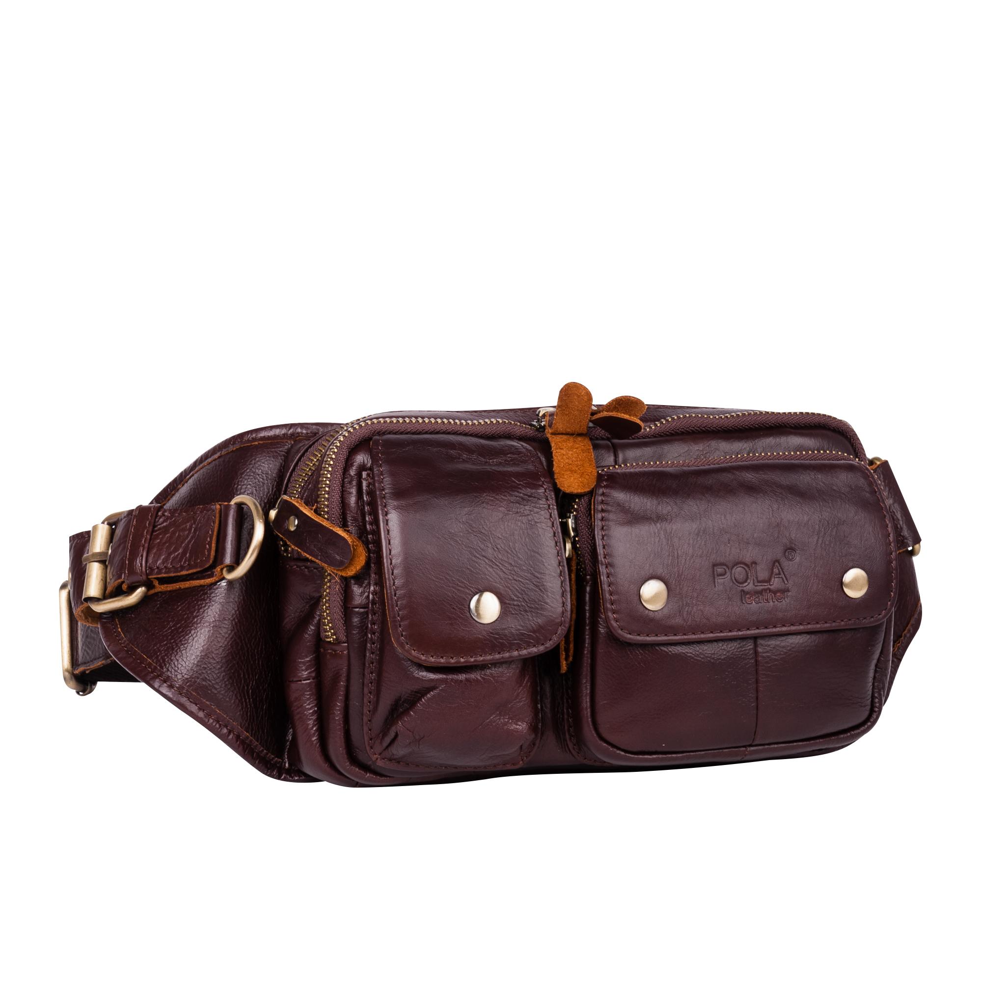 Сумка на пояс мужская Pola, цвет: коричневый. 15871587Кожаная мужская сумка Pola на пояс. Сумка состоит из двух отделений на молниях. Внутри - один карман на молнии и два открытых кармана. Снаружи - дополнительный карман на молнии сзади сумки и три кармана спереди сумки. Пояс регулируется, максимальный объем 140 см.