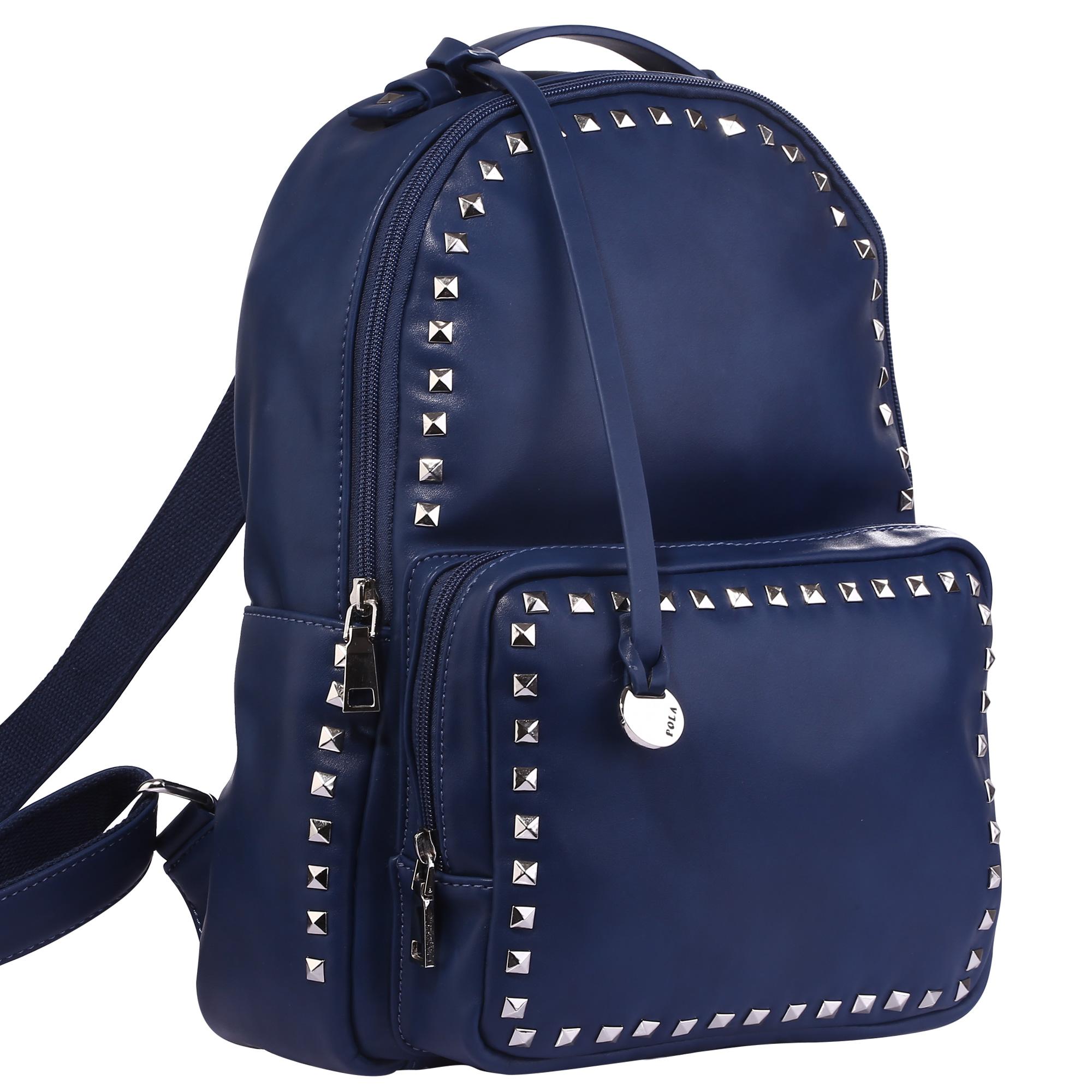 Рюкзак женский Pola, цвет: синий. 43244324Стильный женский рюкзак Pola выполнен из экокожи, декорирован металлическими клепками. Основное отделение закрывается на молнию. Внутри - два кармана на молнии и два открытых кармана. Снаружи – карман на молнии спереди рюкзака. Лямки регулируются по длине. По бокам небольшие открытые кармашки.