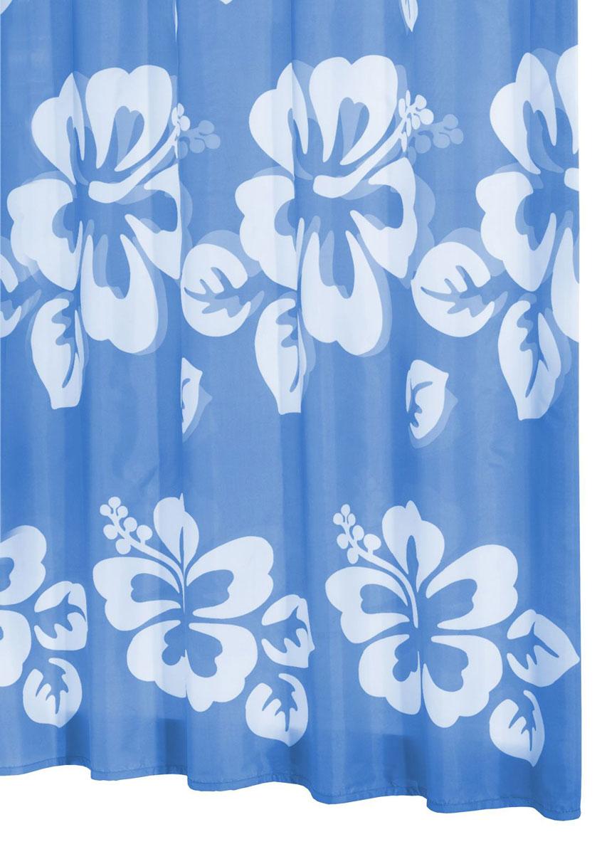 Штора для ванной комнаты Ridder Flowerpower, цвет: синий, голубой, 180 х 200 см42353Нижний кант утяжелен каучуковой лентой.На текстильную штору наносится антигрибковое, антистатическое покрытие. Стирка/глажка при низкой температуре.