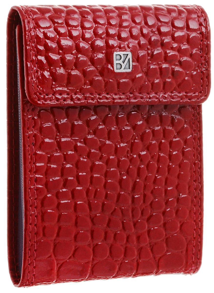 Визитница женская Bodenschatz, цвет: темно-красный. 4-7504-750Визитница Bodenschatz выполнена из натуральной кожи с тиснением под рептилию и оформлена пластинкой из латуни с логотипом бренда. Изделие закрывается клапаном на кнопку. Внутри расположен блок из 10 файлов для дисконтных и визитных карт. Изделие упаковано в фирменную коробку.