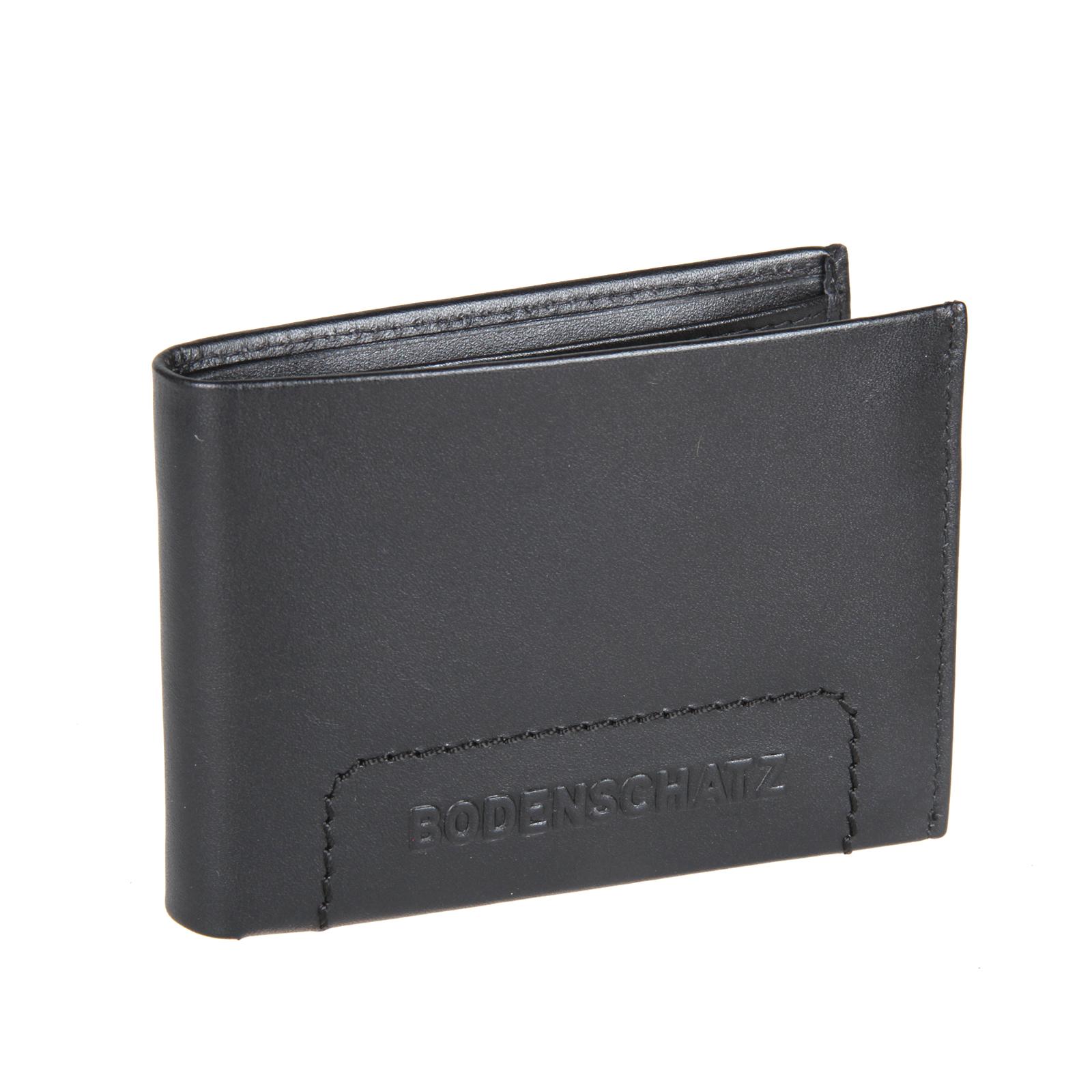 Портмоне мужское Bodenschatz, цвет: черный. 8-496 black8-496 blackРаскладывается пополам, внутри один отдел для купюр, один потайной карман, отделение для монет закрывается клапаном на кнопке, три кармашка для пластиковых карт, один из них сетчатый.