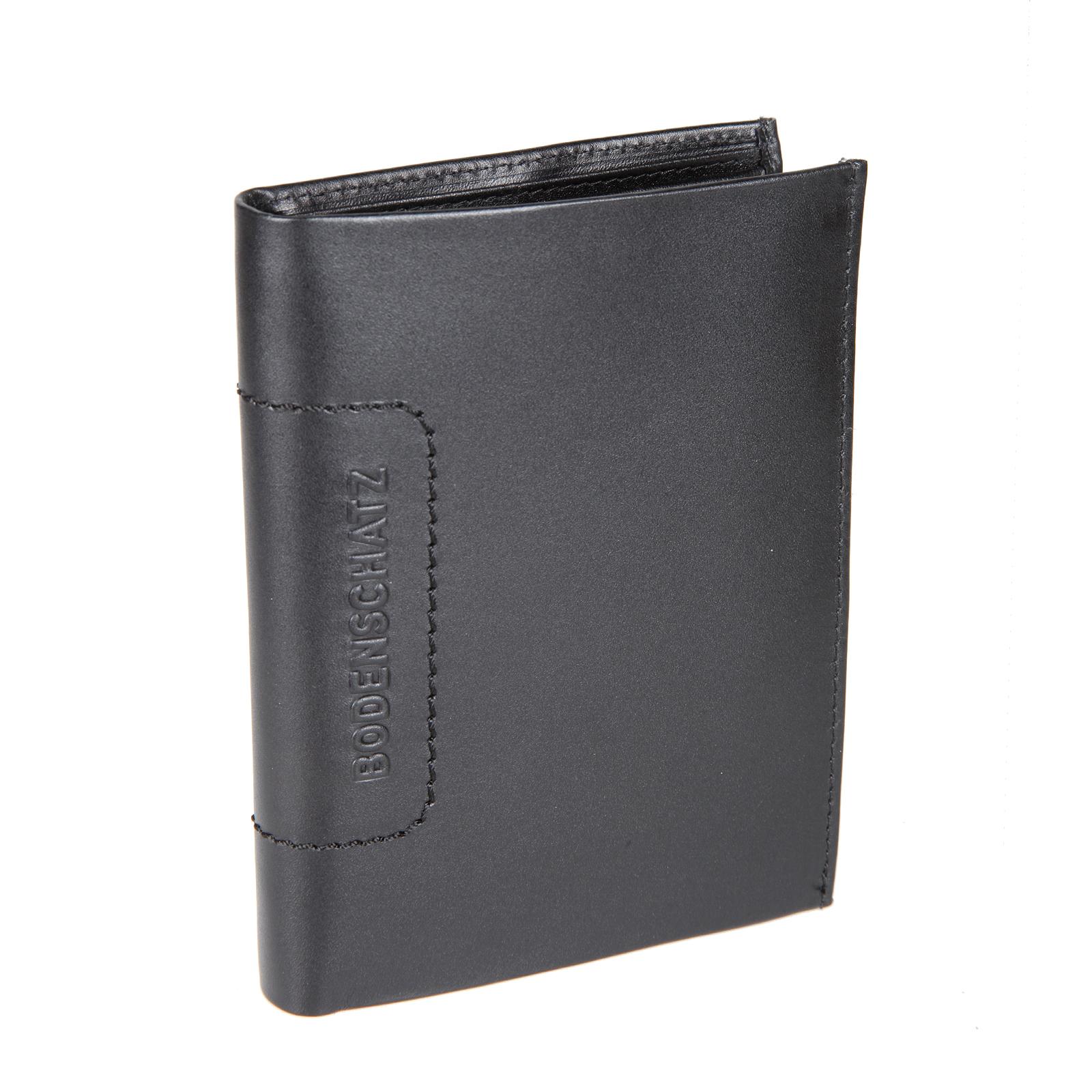 Портмоне мужское Bodenschatz, цвет: черный. 8-500 black8-500 blackРаскладывается пополам, внутри два отдела для купюр, четыре потайных кармана, отделение для монет закрывается клапаном на кнопке, шесть кармашков для пластиковых карт (один из них сетчатый), один сетчатый карман для пропуска.