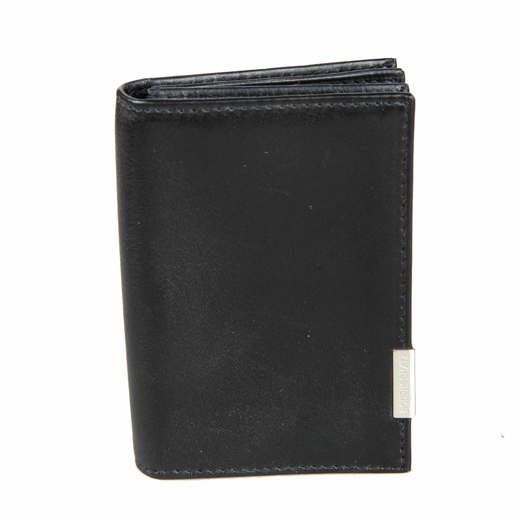Визитница мужская Bodenschatz, цвет: черный. 8-783 black8-783 blackРаскладывается пополам, закрывается на кнопку, внутри два отдела для визиток и пластиковых карт.