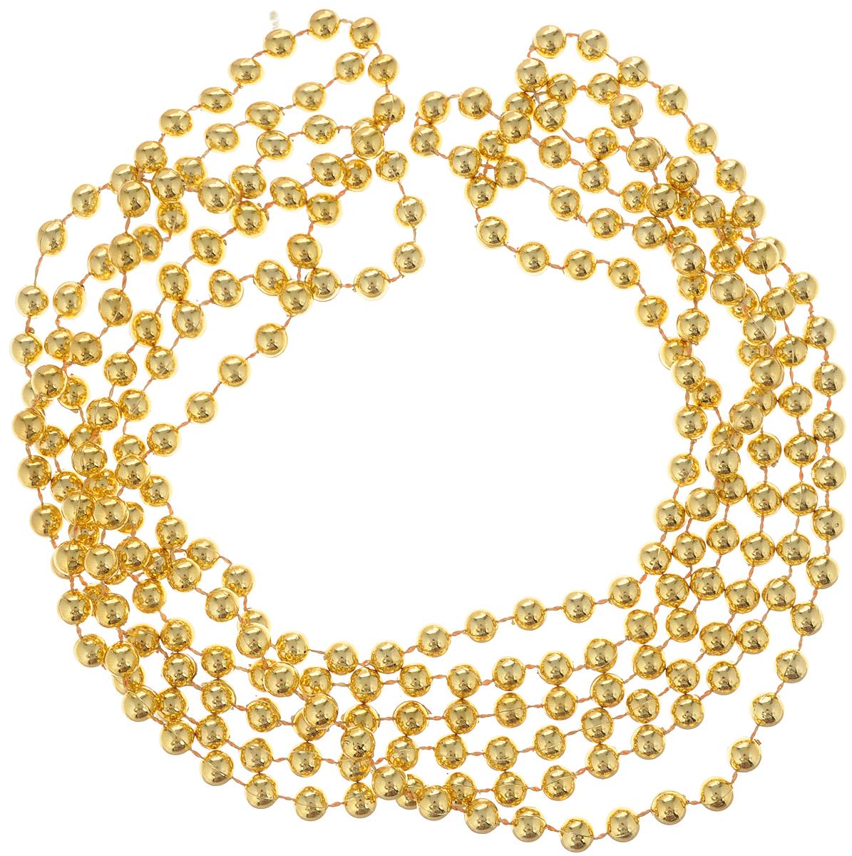 Гирлянда новогодняя Magic Time Бусы с золотыми шариками, 2,7 м38679Новогодняя гирлянда Magic Time Бусы с золотыми шариками, выполненная из полистирола, украсит интерьер вашего дома или офиса в преддверии Нового года. Гирлянда представляет собой бусины на нити. Оригинальный дизайн и красочное исполнение создадут праздничное настроение. Новогодние украшения всегда несут в себе волшебство и красоту праздника. Создайте в своем доме атмосферу тепла, веселья и радости, украшая его всей семьей. Диаметр бусины: 5 мм.