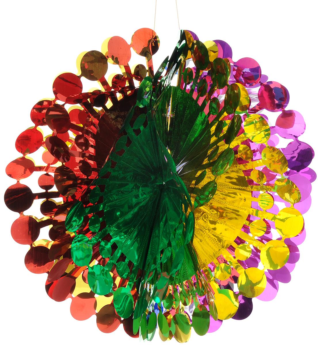 Украшение новогоднее подвесное Magic Time Шар цветной, 47 x 24 см42124Новогоднее подвесное украшение Magic Time Шар цветной выполнено из ПЭТ (полиэтилентерефталат) в виде огромного шара. С помощью специальной петельки украшение можно повесить в любом понравившемся вам месте. Игрушка удачно будет смотреться под потолком. Новогоднее украшение Magic Time Шар цветной несет в себе волшебство и красоту праздника. Создайте в своем доме атмосферу веселья и радости, с помощью игрушек, которые будут из года в год накапливать теплоту воспоминаний. Материал: полиэтилентерефталат. Размер (в сложенном виде): 47 х 24 см.