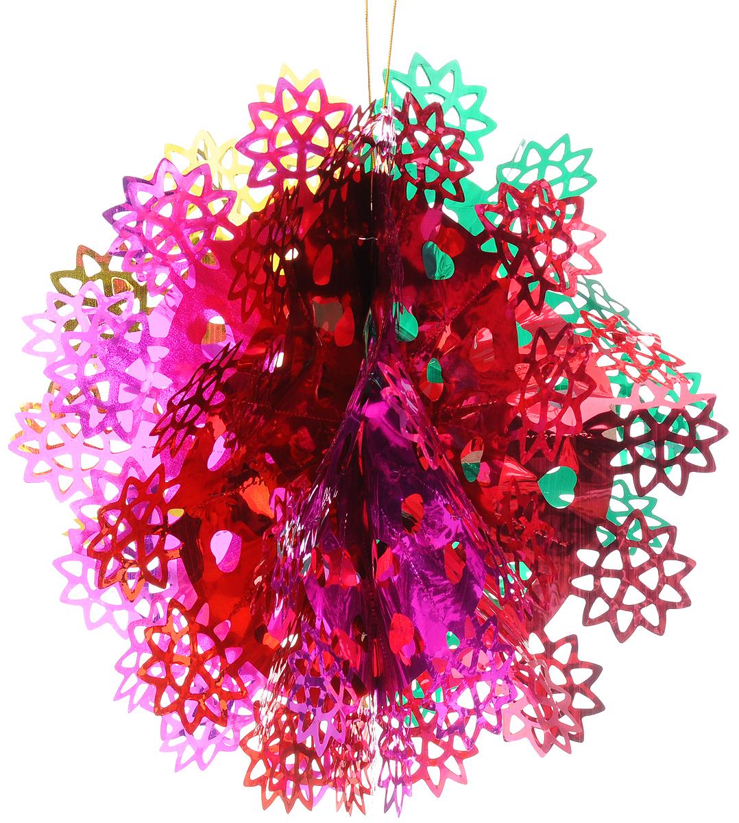 Украшение новогоднее подвесное Magic Time Снежинка цветная, 35 x 1842127Новогоднее подвесное украшение Magic Time Снежинка цветная выполнено из ПЭТ (полиэтилентерефталат) в виде снежинки. С помощью специальной петельки украшение можно повесить в любом понравившемся вам месте. Игрушка удачно будет смотреться под потолком. Новогоднее украшение Magic Time Снежинка цветная несет в себе волшебство и красоту праздника. Создайте в своем доме атмосферу веселья и радости, с помощью игрушек, которые будут из года в год накапливать теплоту воспоминаний. Материал: полиэтилентерефталат. Размер: 35 х 18 см.