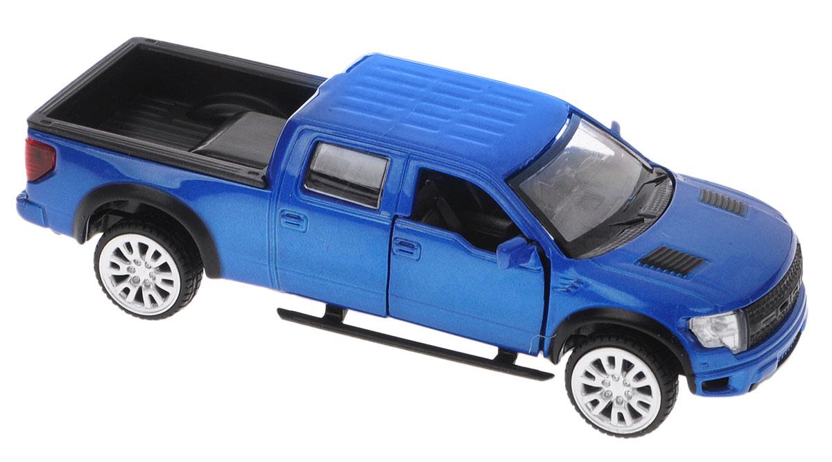 ТехноПарк Модель автомобиля Ford F-150 SVT Raptor цвет синий67329_синийМодель автомобиля ТехноПарк Ford F-150 SVT Raptor, выполненная из металла с пластиковыми элементами, станет любимой игрушкой вашего малыша. Игрушка представляет собой модель автомобиля Ford F-150 SVT Raptor в масштабе 1/43. Передние дверцы модели открываются, а прорезиненные колеса обеспечивают надежное сцепление с любой поверхностью пола. Модель оснащена инерционным механизмом, что позволяет приводить машину в движение без использования батареек. Ваш ребенок увлеченно будет играть с этой машинкой, придумывая различные истории. Порадуйте его таким замечательным подарком!
