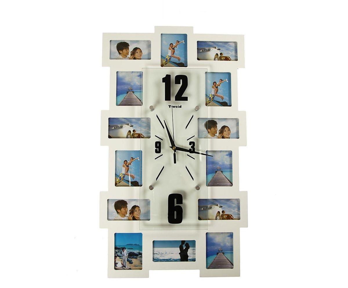 Часы настенные T-Weid, с фоторамками, цвет: белый, 35 х 60 х 5 смM 2021 B WhiteНастенные кварцевые часы с фоторамками - это прекрасный предмет декора, а также универсальный подарок практически по любому поводу. Корпус часов, выполнен из дерева с белым матовым покрытием и оформлен четырнадцатью фоторамками. Циферблат часов оснащен тремя фигурными стрелками: часовой, минутной и секундной. Цифры и метки нанесены черной краской на серебристом фоне на внутренней стороне стекла. Циферблат и стрелки защищены прочным стеклом, который крепится четырьмя металлическими крепежами к корпусу. На задней стенке часов расположена металлическая петелька для подвешивания и блок с часовым механизмом. Часы с фоторамками прекрасно впишутся в любой интерьер. В зависимости оттого, что вы поместите в рамки, будет меняться и стиль часов. Тип механизма: плавающий, бесшумный. Рекомендуется докупить батарейку типа АА (не входит в комплект). для 7 фото 11 х 6 см. и 7 фото 9 х 7 см.