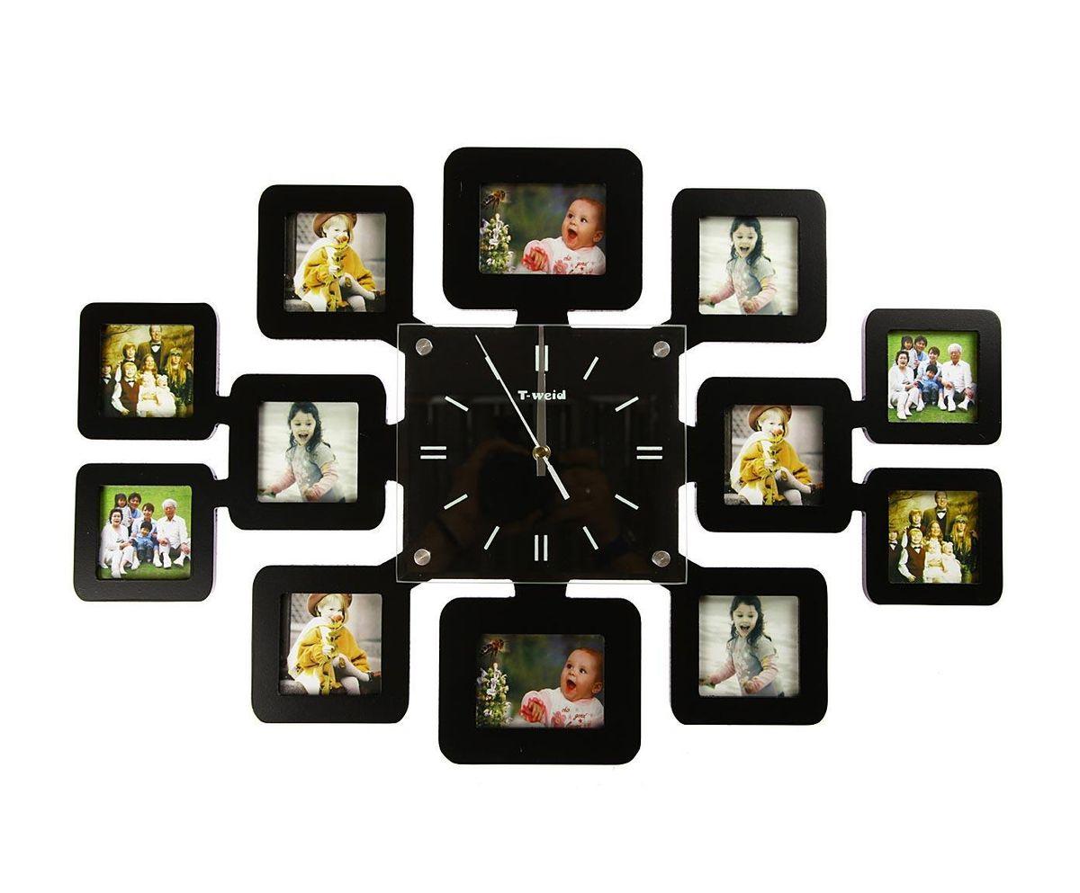 Часы настенные T-Weid, с фоторамками, цвет: черный, 40 х 60 х 5 смM 2074 A BlackНастенные кварцевые часы с фоторамками - это прекрасный предмет декора, а также универсальный подарок практически по любому поводу. Корпус часов, выполнен из дерева с черным матовым покрытием и оформлен двенадцатью фоторамками. Циферблат часов оснащен тремя фигурными стрелками: часовой, минутной и секундной. Цифры и метки нанесены черной краской на серебристом фоне на внутренней стороне стекла. Циферблат и стрелки защищены прочным стеклом, который крепится четырьмя металлическими крепежами к корпусу. На задней стенке часов расположена металлическая петелька для подвешивания и блок с часовым механизмом. Часы с фоторамками прекрасно впишутся в любой интерьер. В зависимости оттого, что вы поместите в рамки, будет меняться и стиль часов. Тип механизма: плавающий, бесшумный. Рекомендуется докупить батарейку типа АА (не входит в комплект). для 10 фото 7 х 7 см. и 2 фото 7 х 9 см.