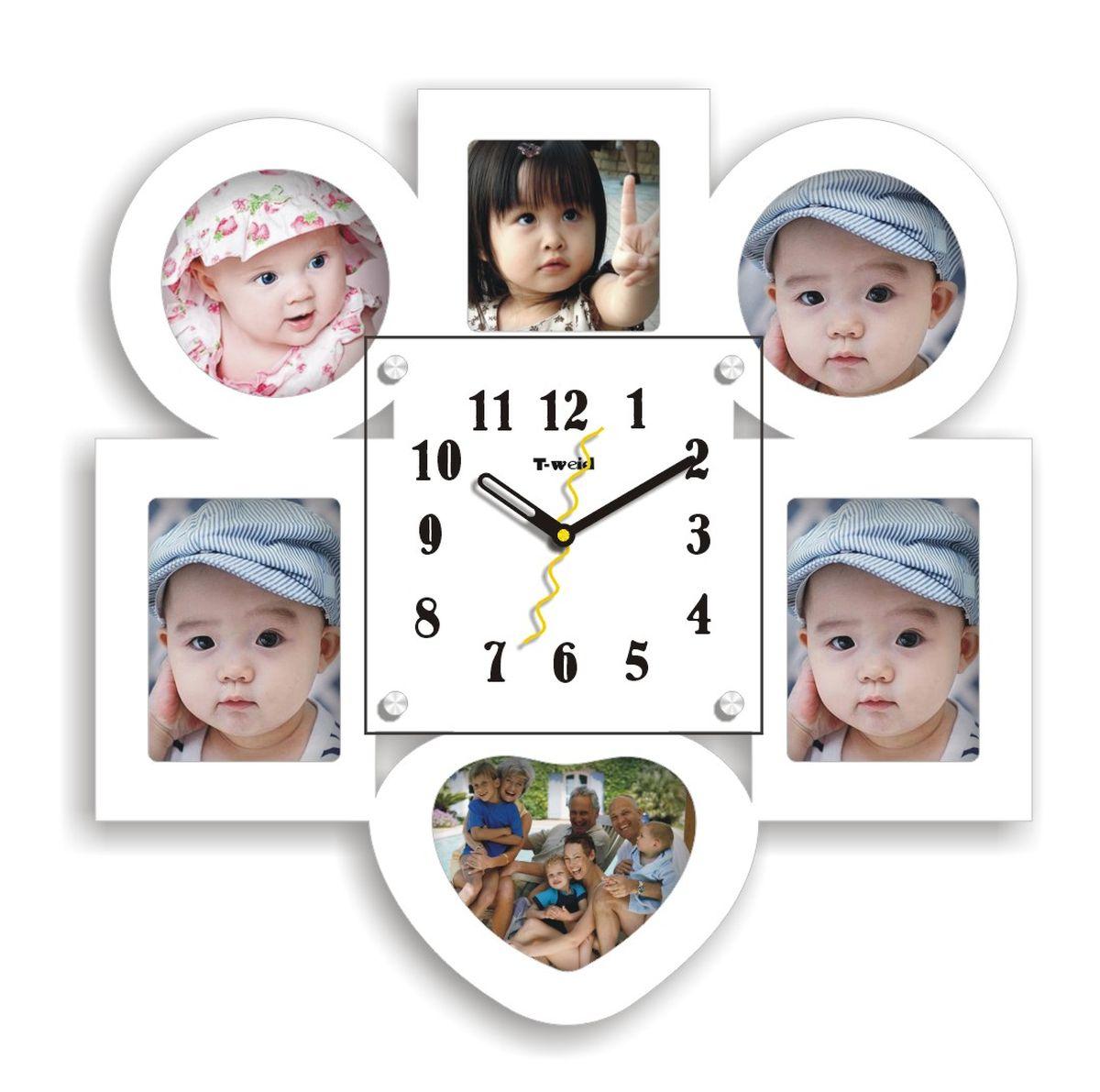 Часы настенные T-Weid, с фоторамками, цвет: белый, 39 х 39 х 5 см. M 3216 B WhiteM 3216 B WhiteНастенные кварцевые часы с фоторамками - это прекрасный предмет декора, а также универсальный подарок практически по любому поводу. Корпус часов, выполнен из дерева с белым матовым покрытием и оформлен шестью фоторамками. Циферблат часов оснащен тремя фигурными стрелками: часовой, минутной и секундной. Циферблат и стрелки защищены прочным стеклом, который крепится четырьмя металлическими крепежами к корпусу. На задней стенке часов расположена металлическая петелька для подвешивания и блок с часовым механизмом. Часы с фоторамками прекрасно впишутся в любой интерьер. В зависимости оттого, что вы поместите в рамки, будет меняться и стиль часов. Тип механизма: плавающий, бесшумный. Рекомендуется докупить батарейку типа АА (не входит в комплект) Для 6 фото: 2 фото 10х10 см. 2 фото 9х12 см. 1 фото 9х9 см. 1фото 12х10 см.