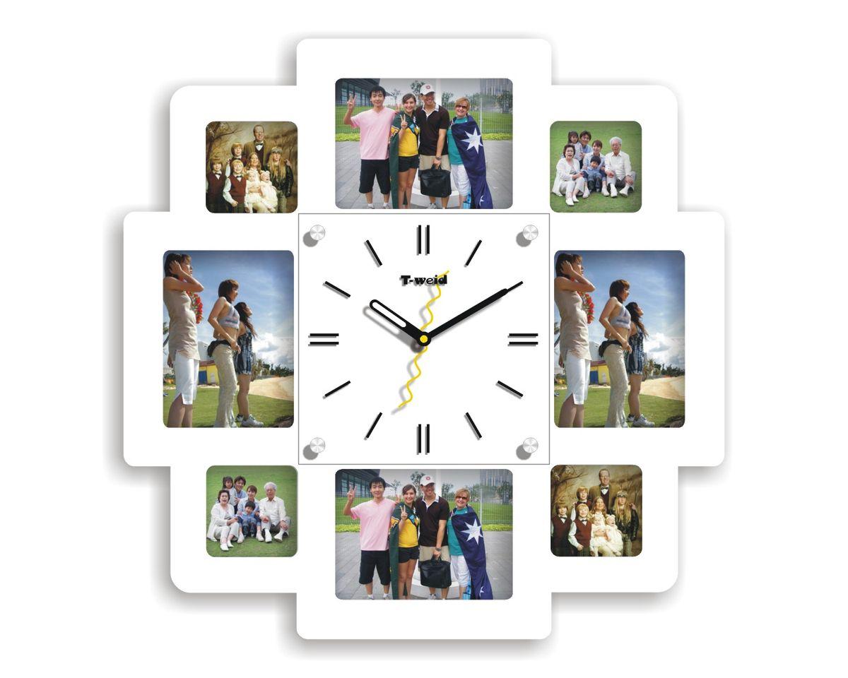Часы настенные T-Weid, с фоторамками, цвет: белый, 40 х 40 х 5 см. M 8154 B WhiteM 8154 B WhiteНастенные кварцевые часы с фоторамками - это прекрасный предмет декора, а также универсальный подарок практически по любому поводу. Корпус часов, выполнен из дерева с белым матовым покрытием и оформлен восемью фоторамками. Циферблат часов оснащен тремя фигурными стрелками: часовой, минутной и секундной. Циферблат и стрелки защищены прочным стеклом, который крепится четырьмя металлическими крепежами к корпусу. На задней стенке часов расположена металлическая петелька для подвешивания и блок с часовым механизмом. Часы с фоторамками прекрасно впишутся в любой интерьер. В зависимости оттого, что вы поместите в рамки, будет меняться и стиль часов. Тип механизма: плавающий, бесшумный. Рекомендуется докупить батарейку типа АА (не входит в комплект). для 8 фото: 4 фото 12х9 см. 4 фото 7х7 см.