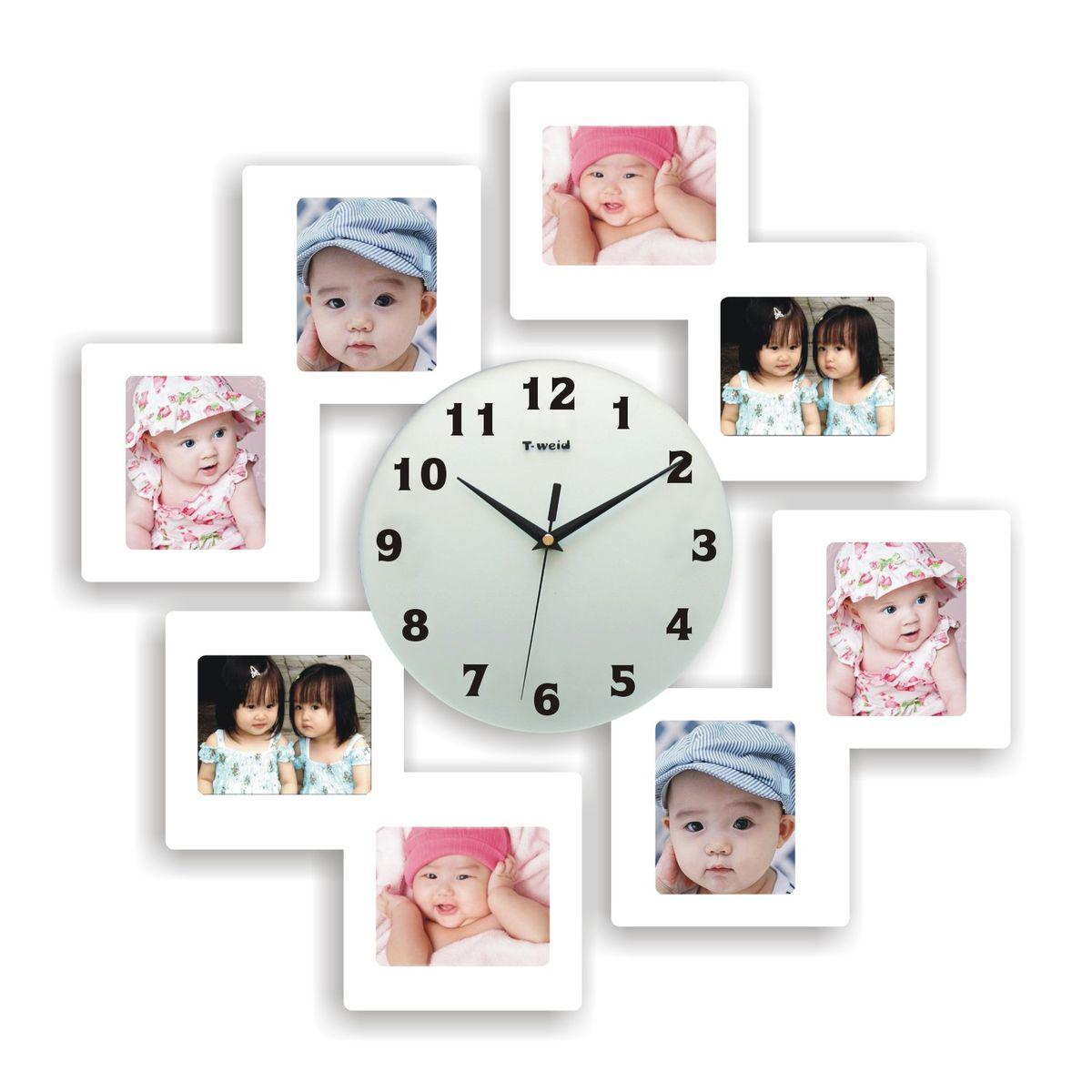 Часы настенные T-Weid, с фоторамками, цвет: белый, 55 х 55 х 5 смM 8182 B WhiteНастенные кварцевые часы с фоторамками - это прекрасный предмет декора, а также универсальный подарок практически по любому поводу. Корпус часов, выполнен из дерева с белым матовым покрытием и оформлен восемью фоторамками. Циферблат часов оснащен тремя фигурными стрелками: часовой, минутной и секундной. Цифры и метки нанесены черной краской на стекле циферблата. На задней стенке часов расположена металлическая петелька для подвешивания и блок с часовым механизмом. Часы с фоторамками прекрасно впишутся в любой интерьер. В зависимости оттого, что вы поместите в рамки, будет меняться и стиль часов. Тип механизма: плавающий, бесшумный. Рекомендуется докупить батарейку типа АА (не входит в комплект). Для 8 фото 11 х 9см.