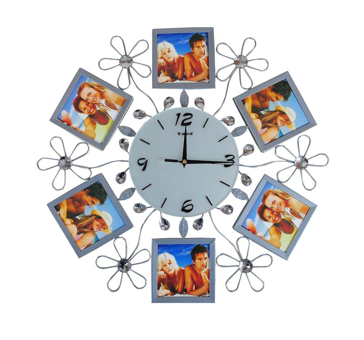 Часы настенные T-Weid, цвет: серебристый, 50 х 50 х 5 смM 2051 BНастенные кварцевые часы - это прекрасный предмет декора, а также универсальный подарок практически по любому поводу. Циферблат часов оснащен тремя фигурными стрелками: часовой, минутной и секундной. Циферблат выполнен из матового, прочного стекла. Корпус часов украшен стразами. На задней стенке часов расположена металлическая петелька для подвешивания и блок с часовым механизмом. Часы прекрасно впишутся в любой интерьер. Тип механизма: плавающий, бесшумный. Рекомендуется докупить батарейку типа АА (не входит в комплект). Для 6 фото 11х11 см.