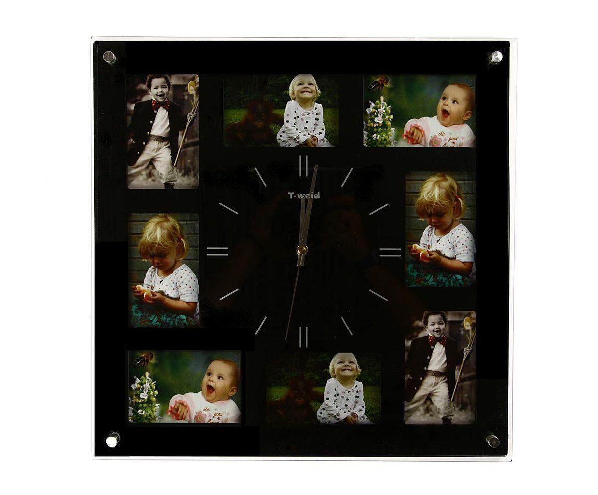 Часы настенные T-Weid, с фоторамками, цвет: черный, 40 х 40 х 5 смМ 9012 А BlackНастенные кварцевые часы с фоторамками - это прекрасный предмет декора, а также универсальный подарок практически по любому поводу. Корпус часов, выполнен из дерева с черным матовым покрытием и оформлен восемью фоторамками. Циферблат часов оснащен тремя фигурными стрелками: часовой, минутной и секундной. Цифры и метки нанесены черной краской на серебристом фоне на внутренней стороне стекла. Циферблат и стрелки защищены прочным стеклом, который крепится четырьмя металлическими крепежами к корпусу. На задней стенке часов расположена металлическая петелька для подвешивания и блок с часовым механизмом. Часы с фоторамками прекрасно впишутся в любой интерьер. В зависимости оттого, что вы поместите в рамки, будет меняться и стиль часов. Тип механизма: плавающий, бесшумный. Рекомендуется докупить батарейку типа АА (не входит в комплект). для 8 фото 9 х 12 см.