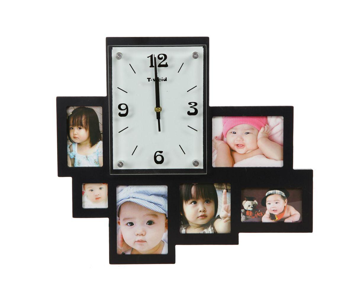Часы настенные T-Weid, с фоторамками, цвет: черный, 36 х 40 х 5 смM 2014 A BlackНастенные кварцевые часы с фоторамками - это прекрасный предмет декора, а также универсальный подарок практически по любому поводу. Корпус часов, выполнен из дерева с черным матовым покрытием и оформлен шестью фоторамками. Циферблат часов оснащен тремя фигурными стрелками: часовой, минутной и секундной. Цифры и метки нанесены черной краской на серебристом фоне на внутренней стороне стекла. Циферблат и стрелки защищены прочным стеклом, который крепится четырьмя металлическими крепежами к корпусу. На задней стенке часов расположена металлическая петелька для подвешивания и блок с часовым механизмом. Часы с фоторамками прекрасно впишутся в любой интерьер. В зависимости оттого, что вы поместите в рамки, будет меняться и стиль часов. Тип механизма: плавающий, бесшумный. Рекомендуется докупить батарейку типа АА (не входит в комплект). для 6 фото: 2фото 9 х 12см; 4 х 4см, 2фото10 х 6см, 9 х 9 см