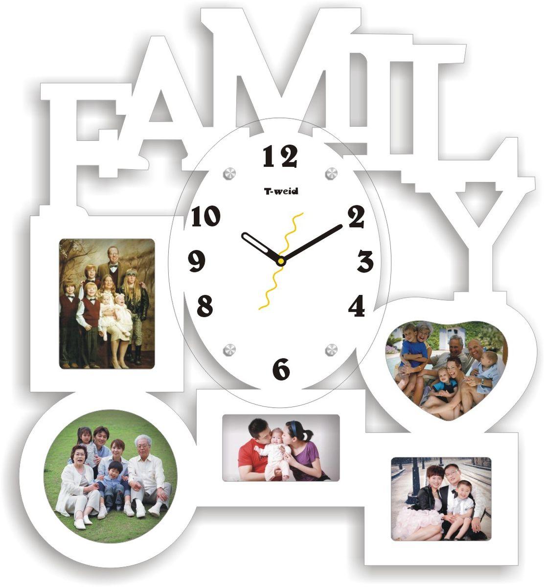 Часы настенные T-Weid, с фоторамками, цвет: белый, 46 х 50 х 5 смM3108B WhiteНастенные кварцевые часы с фоторамками - это прекрасный предмет декора, а также универсальный подарок практически по любому поводу. Корпус часов, выполнен из дерева с белым матовым покрытием и оформлен пятью фоторамками. Циферблат часов оснащен тремя фигурными стрелками: часовой, минутной и секундной. Циферблат и стрелки защищены прочным стеклом, который крепится четырьмя металлическими крепежами к корпусу. На задней стенке часов расположена металлическая петелька для подвешивания и блок с часовым механизмом. Часы с фоторамками прекрасно впишутся в любой интерьер. В зависимости оттого, что вы поместите в рамки, будет меняться и стиль часов. Тип механизма: плавающий, бесшумный. Рекомендуется докупить батарейку типа АА (не входит в комплект). для 5 фото: 1 фото 12х9 см. 1 фото 12х12. 1 фото 6х11. 1 фото 8х9 см. 1 фото 12х10 см.