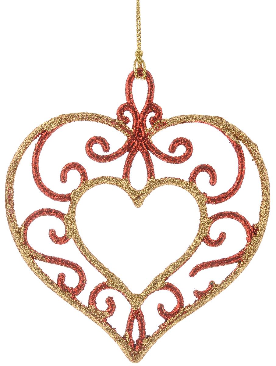 Украшение новогоднее подвесное Magic Time Сердце, цвет: золотой, красный, 9,5 х 10,5 см35004Новогоднее подвесное украшение Magic Time Сердце выполнено из пластик в виде сердца и украшено блестками. С помощью специальной петельки украшение можно повесить в любом понравившемся вам месте. Но, конечно, удачнее всего оно будет смотреться на праздничной елке. Елочная игрушка - символ Нового года. Она несет в себе волшебство и красоту праздника. Создайте в своем доме атмосферу веселья и радости, украшая новогоднюю елку нарядными игрушками, которые будут из года в год накапливать теплоту воспоминаний.